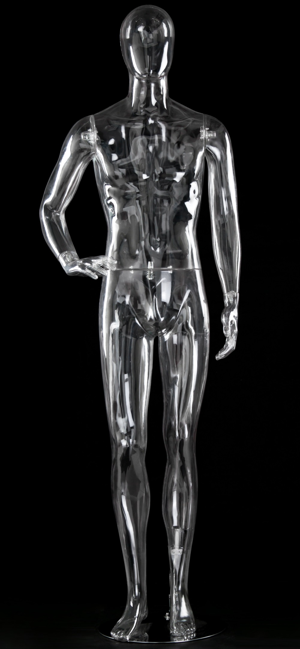 Schaufensterfigur TRANSPARENT Herr, gewinkelter Arm